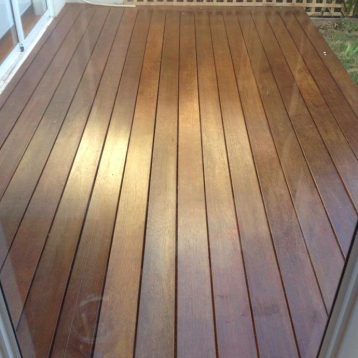 Two coats of AquaDeck, a water based clear coat, onto this deck and its ready for another summer.