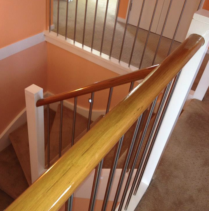 Paint colours can certainly create a mood, as shown in this example of a warm peach applied to the staircase walls of this home.